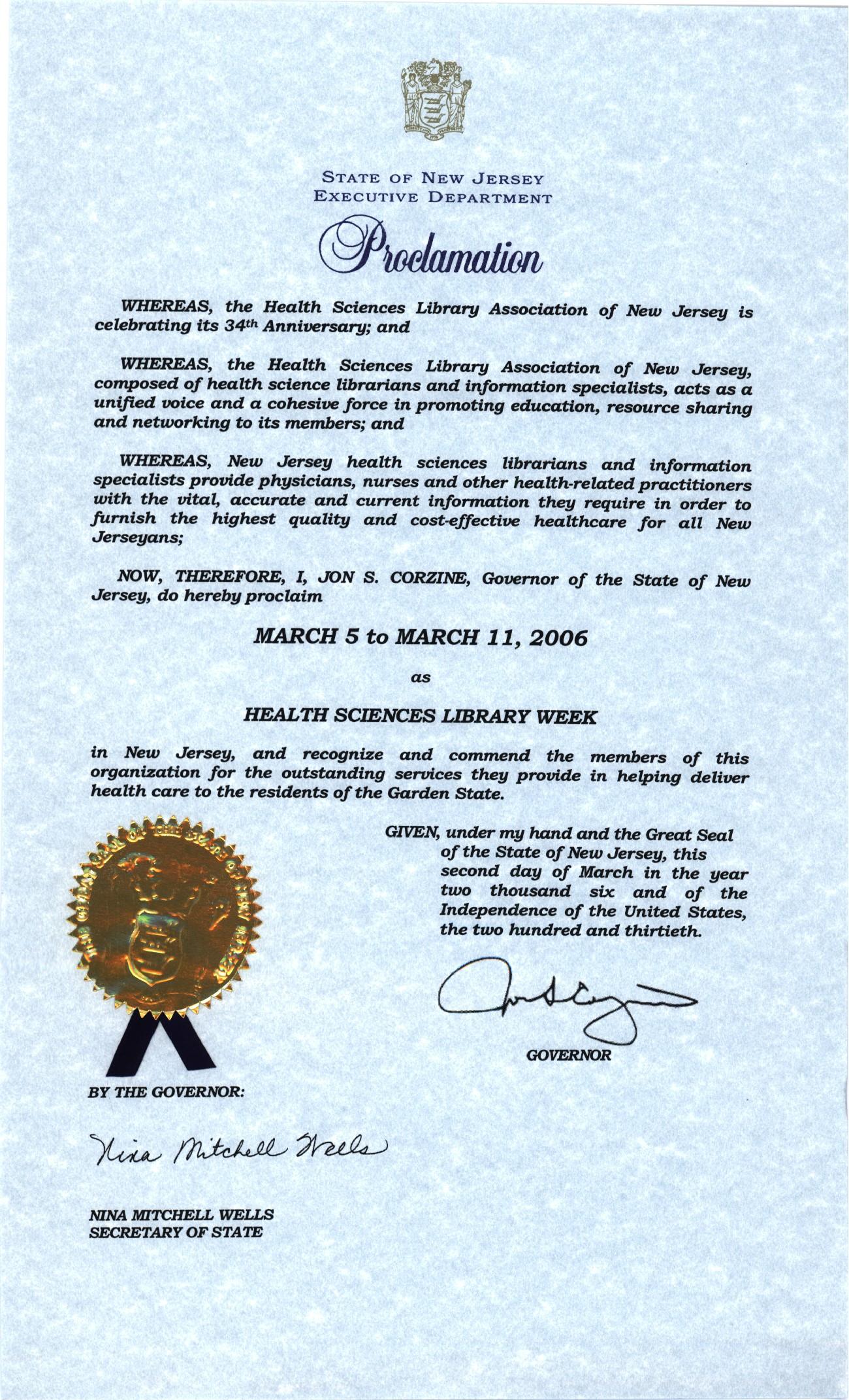 2006 HSLANJ Proclamation